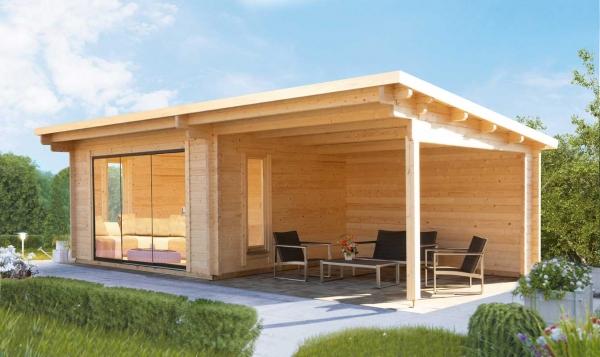 Gartenhaus Trondheim 70-D XL mit Schiebetür und 400cm Seitendach