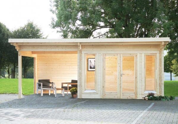 Gartenhaus Trondheim 70-A XL mit 300cm Seitendach