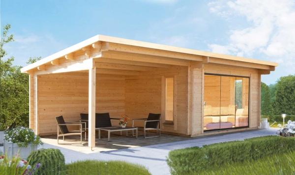 Gartenhaus Trondheim 70-D XL mit Schiebetür und 200cm Seitendach