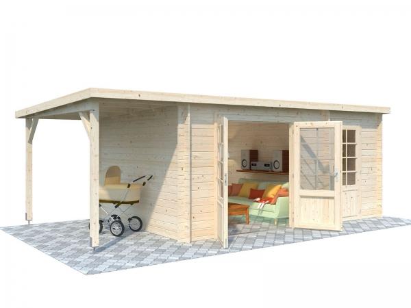 Gartenhaus Ella 13,1+3,9 m² - unbehandelt