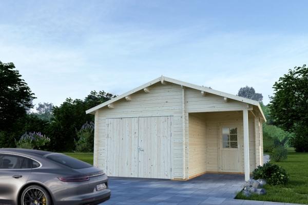 Garage Roger 21,9+5,2 m² mit Holztor - farbig